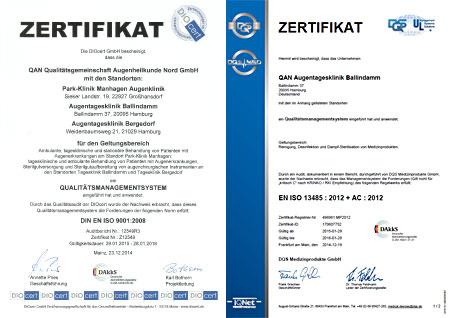 QMS-Zertifikate der QAN Augenkliniken